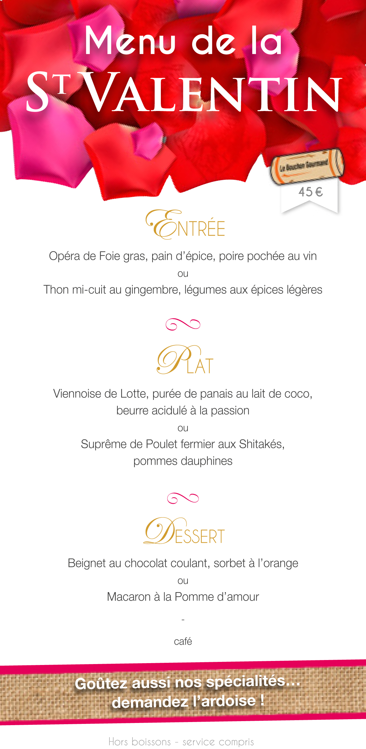 Bouchon Menu St Valentin