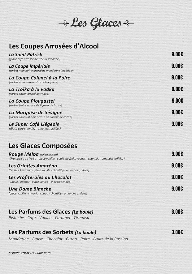 Glaces La carte Le Bouchon Gourmand
